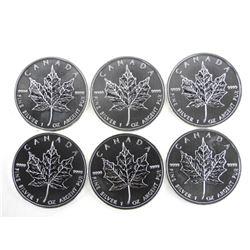 Lot (6) .9999 Fine Silver $5.00 2011 Maple Leaf