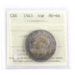 1945 Canada Silver 50 Cent MS-64. ICCS (MER)