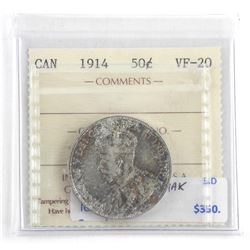 Canada 1914 Silver 50 Cent. VF-20 ICCS (OER)