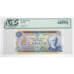 Bank of Canada 1972 Five Dollar Note. PCGS. UNC 64