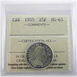 Canada 1955 Silver 25 Cent. ICCS. MS65