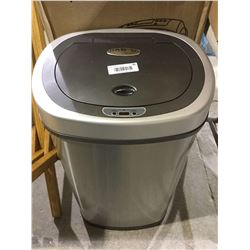 Nine Stars Stainless Silver Motion Sensor Trash Can