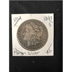 1897 USA MORGAN SILVER DOLLAR (MINTED SAN FRANCISCO)