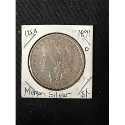 1891 USA MORGAN SILVER DOLLAR (MINTED NEW ORLEANS)