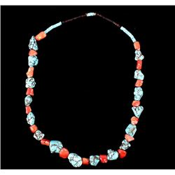 Navajo Coral Turquoise & Tortoise Necklace 1920's