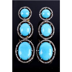 Mid-Century Turquoise & Diamond Dangle Earrings