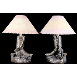 Western Cowboy Boot and Gun Belt Table Lamps