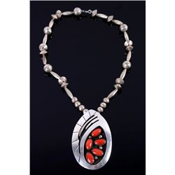 Navajo Sterling Silver & Branch Coral Necklace