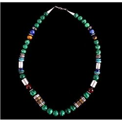 Navajo T&R Singer Malachite Multistone Necklace