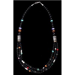 Navajo T&R Singer Onyx Multi Stone Necklace