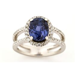 Color Change Sapphire & Diamond Ring Platinum Ring