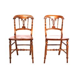 Quatersawn Oak Hand Carved Pair of Chairs