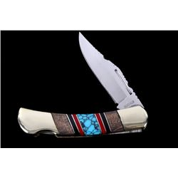 Navajo Turquoise Inlaid Buffalo Pocket Knife