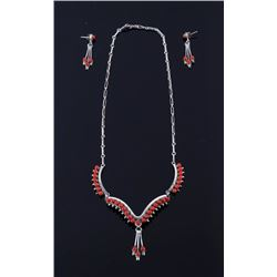 Zuni Silver Branch Coral Necklace & Earring Set