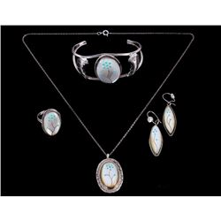 Zuni Mother of Pearl & Turquoise Inlaid Jewelry