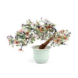 Hand Carved Chinese Apple Jade Juniper Tree