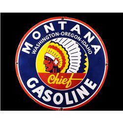 Montana Chief Gasoline Porcelain Enamel Sign