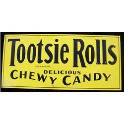 Tootsie Rolls Metal Advertising Sign c. 1920-1930