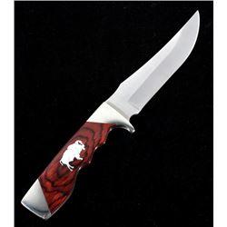 Bear & Son Silver Buffalo Inlaid Knife & Sheath