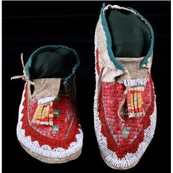 Sioux Fully Quilled & Beaded Moccasins C. 1870-