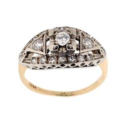Pre-1920 Art Deco Diamond 14K Gold Ring