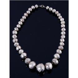 Navajo Graduated Silver Concho Bead Necklace 1920
