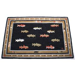Fishing Lure And Trout Pattern Wool Rug