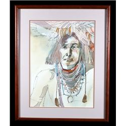 Original Sari Staggs Chief Water Color Painting
