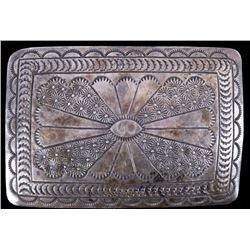 Navajo Old Pawn Sterling Belt Buckle c. 1920
