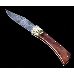 Geramn Lever Lock Damascus Switchblade Knife