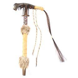 Crow Beaded Deer Jawbone & Horsehair Tomahawk