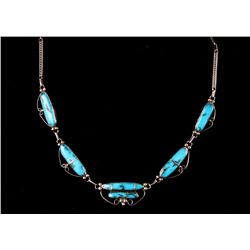 Navajo Morenci Turquoise & Silver Necklace