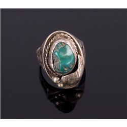 Navajo Old Pawn Cerrillos Turquoise & Silver Ring
