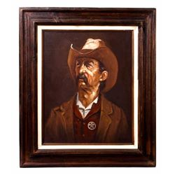 American Lawman Folk Art Oil Painting by Simon