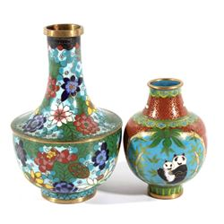 Pair of Chinese Cloisonne Bronze Enamel Vases