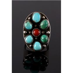 Navajo Turquoise, Coral & Silver Ring