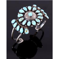 Navajo Old Pawn Silver Turquoise Bracelet c. 1920