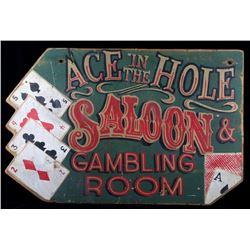 Hand Painted Folk Art Gambling Room Sign