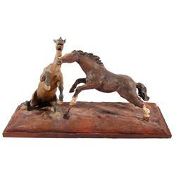 Original G.C. Wentworth Fighting Horses Sculpture