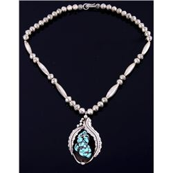 Navajo Sleeping Beauty Turquoise & Silver Necklace