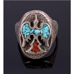 Navajo Chip Inlay Peyote Bird Silver Ring