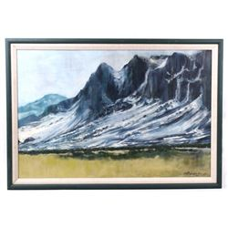 Scenic Montana Mountainside Oil Painting 1967