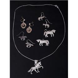Sterling Silver Western Earrings & Necklace