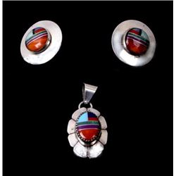 Navajo Sterling Multi Stone Earrings & Pendent