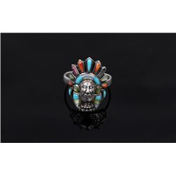 Signed Navajo Sterling Silver Multi Stone Ring