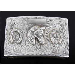 Early Sterling Silver Ornate Horse Belt Buckle