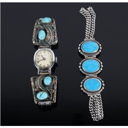 Navajo Sterling Silver Turquoise Bracelet & Watch