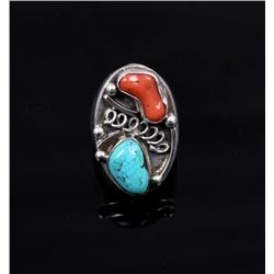 Navajo Silver Turquoise and Coral Ring