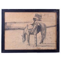 Original Western Pencil Sketch, Circa 1930's