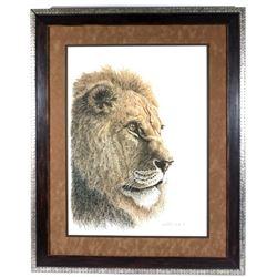 Signed Kim E. Burrough Lion's Head Portrait